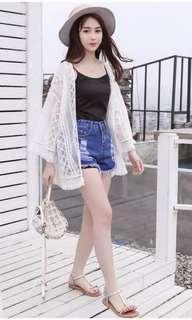 Yoana thin lace cardigan (White)