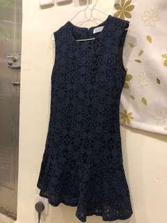 Monica J 女裝 韓國製造 藍色 通花連身裙 made in Korea 90%新