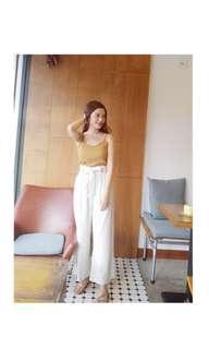🚚 白色條紋寬褲