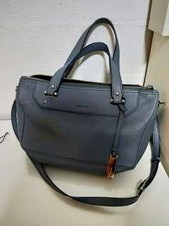 Rabeanco gray sling and handcarry bag genuine leather