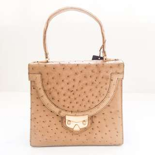 3b91fd336fc1 NWT Minor Defects Vintage KWANPEN Beige Tan Ostrich Top Handle Tote Handbag