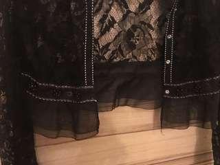 🚚 黑色短版蕾絲外套