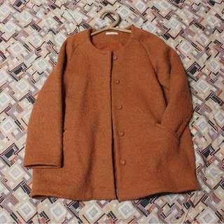 MOSS CLUB 暖橘色南瓜色圓領羊毛剪裁大衣外套