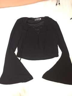 yhf black bell sleeve tie up crop top