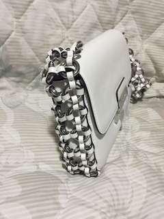 Authentic Michael Kors flap bag optic white leather