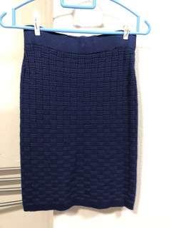 Navy Blue Textured Bandage Skirt