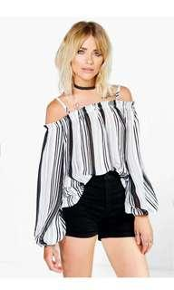Boohoo LUC-CE striped chiffon off the shoulder top