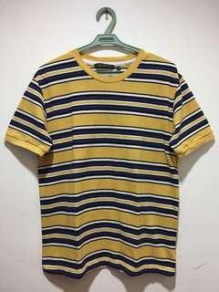 Penshoppe yellow and blue striped shirt