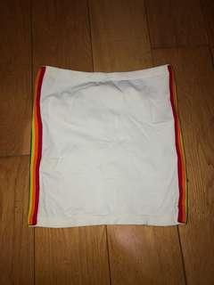 White Tube Top with rainbow sides