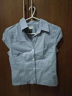 H&M blue checkered blouse