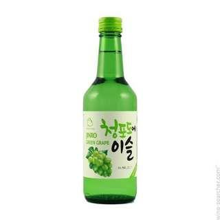 SOJU Jinro Green Grape. Minuman Korea