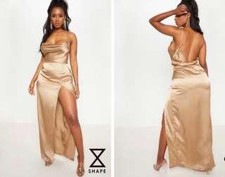 Gold cowl neck maxi dress