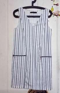 🚚 ZARA白色藍條紋 夏日直筒連身裙 #一百均價