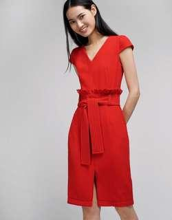 * PERFECT FOR CNY* BNWT Saturday Club Fitted Dress With Gathered Waist in Red Size XS