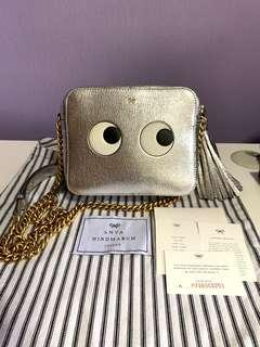 [Pending ] Anya Hindmarch Eyes Right Metallic Leather Crossbody