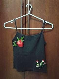 Black Spaghetti Straps with Floral Patch