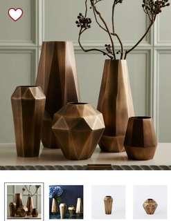Faceted Metal Vases