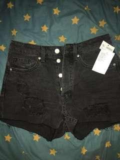 H&M Short Pants Hot Pants High Waist Ripped Jeans Black Pants