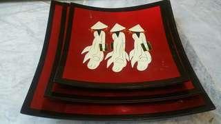 3pcs Vietnam deco plates