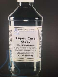 Liquid zinc assay dietary supplement