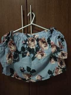 Blue Floral Off-shoulders top