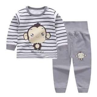 🚚 Little Monkey Grey Strip Print Long Sleeve Sleepsuits (NCS006)