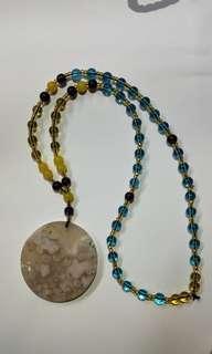 Sakura Agate pendant with necklace (樱花玛瑙吊坠项链)