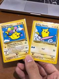 Surfing and flying pikachu pair Black star promo