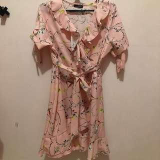 Pink Floral Tie Dress