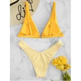 Two Piece Checkered Design Swimwear 1A0046