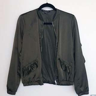 Zara ruffled olive bomber jacket
