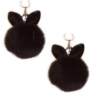 Furry Bunny Ears Bag Charm / Keychain