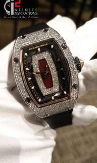 Richard Mille RM 07-01 White Gold Full Set Diamonds Red Jasper Dial – Brand New Complete set.