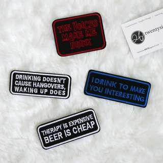 🚚 Iron On Patch | Alcohol Lover Series | Drink, drank drunk, boozer, hangover, beer
