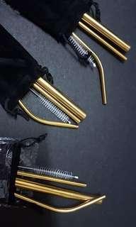 Gold Metal Straw