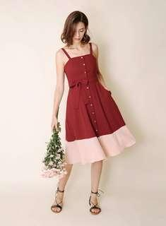 *Perfect for CNY* BNWOT Andwelldressed Requiem Duo Tone Button Down Dress (Wine/Pink) Size S
