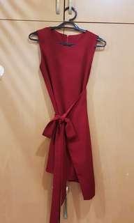 Bow Tie Maroon Mini Dress