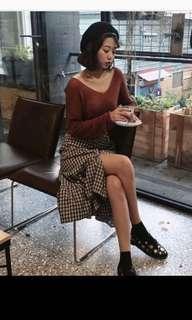 🚚 咖啡褐色大v領針織上衣 #一百均價