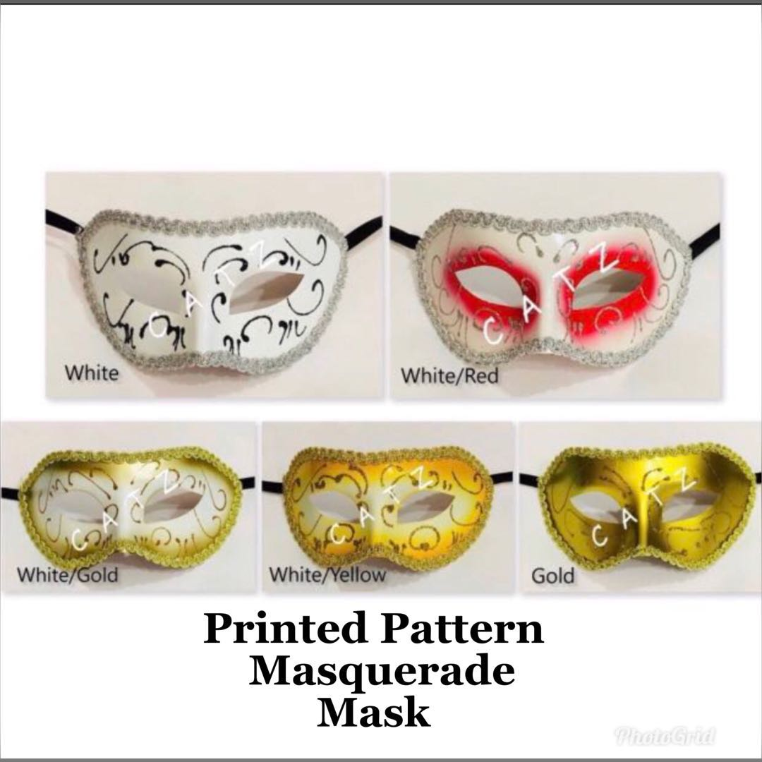 < CATZ > Face Mask Masquerade Mask Party Mask Pattern Face Mask Cosplay  Party Mask Unisex Mask
