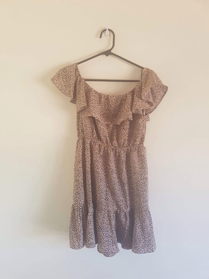 Beginning Boutique off the shoulder leopard print dress