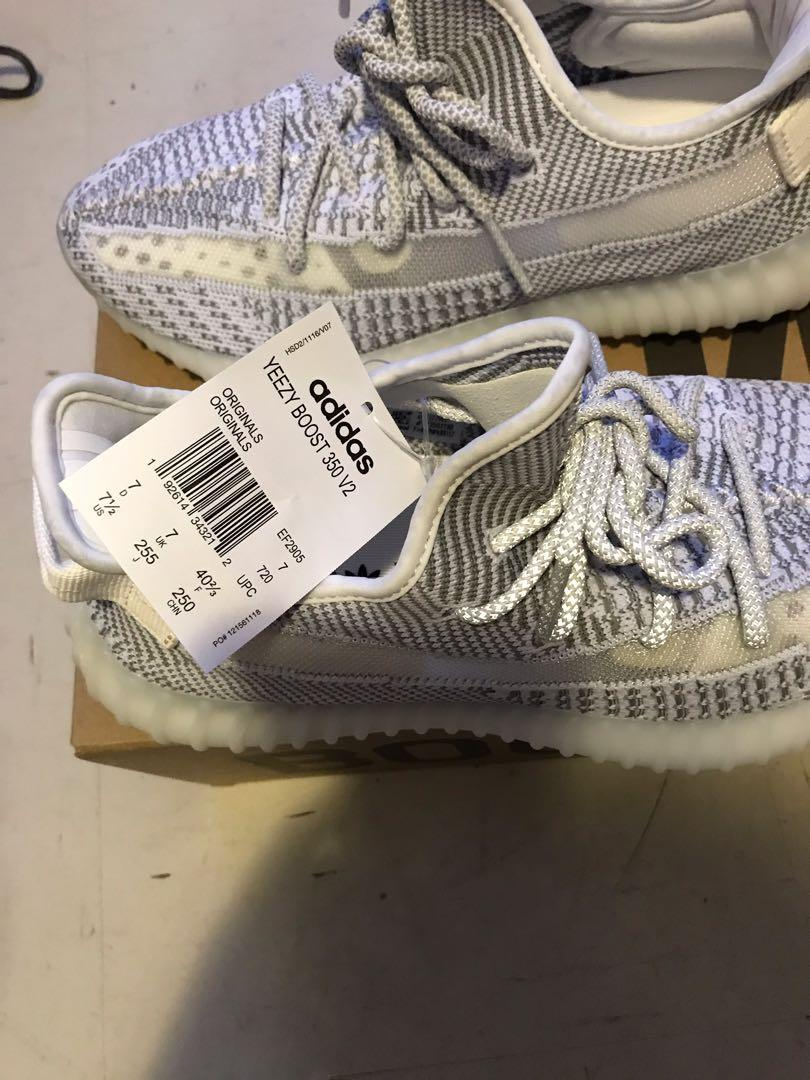 Brand New, authentic never worn yeezy 350 Static in size Men's 7.5 (Women's 9.5)