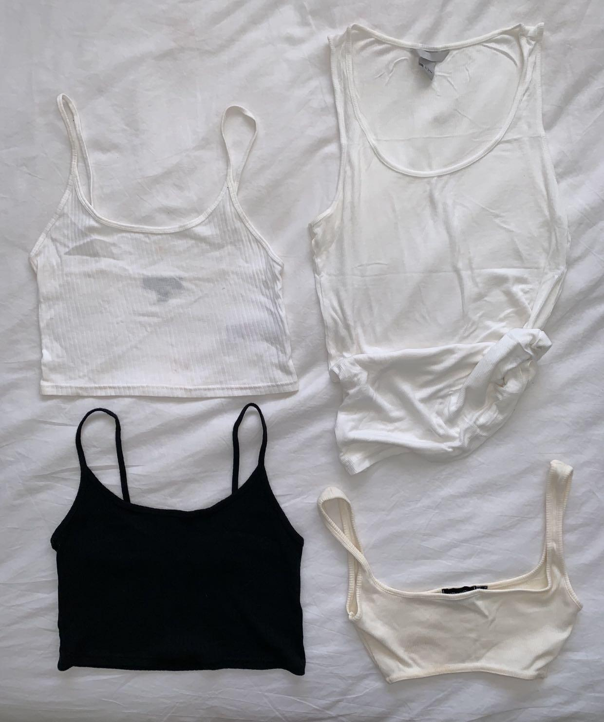 BUNDLE: singlets and crop tops - Zara, pretty little thing, the glue store