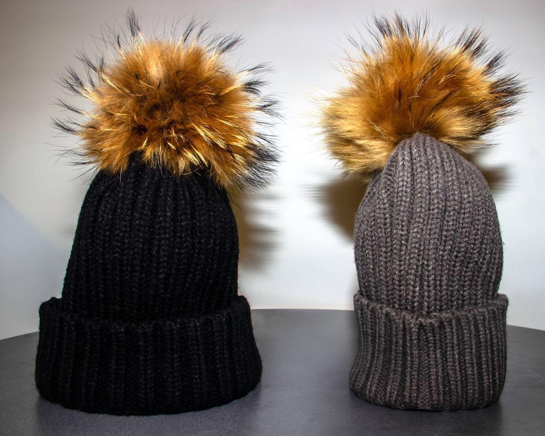 canada goose/moncler/mackage-like REAL RACCOON FUR POM POM HAT