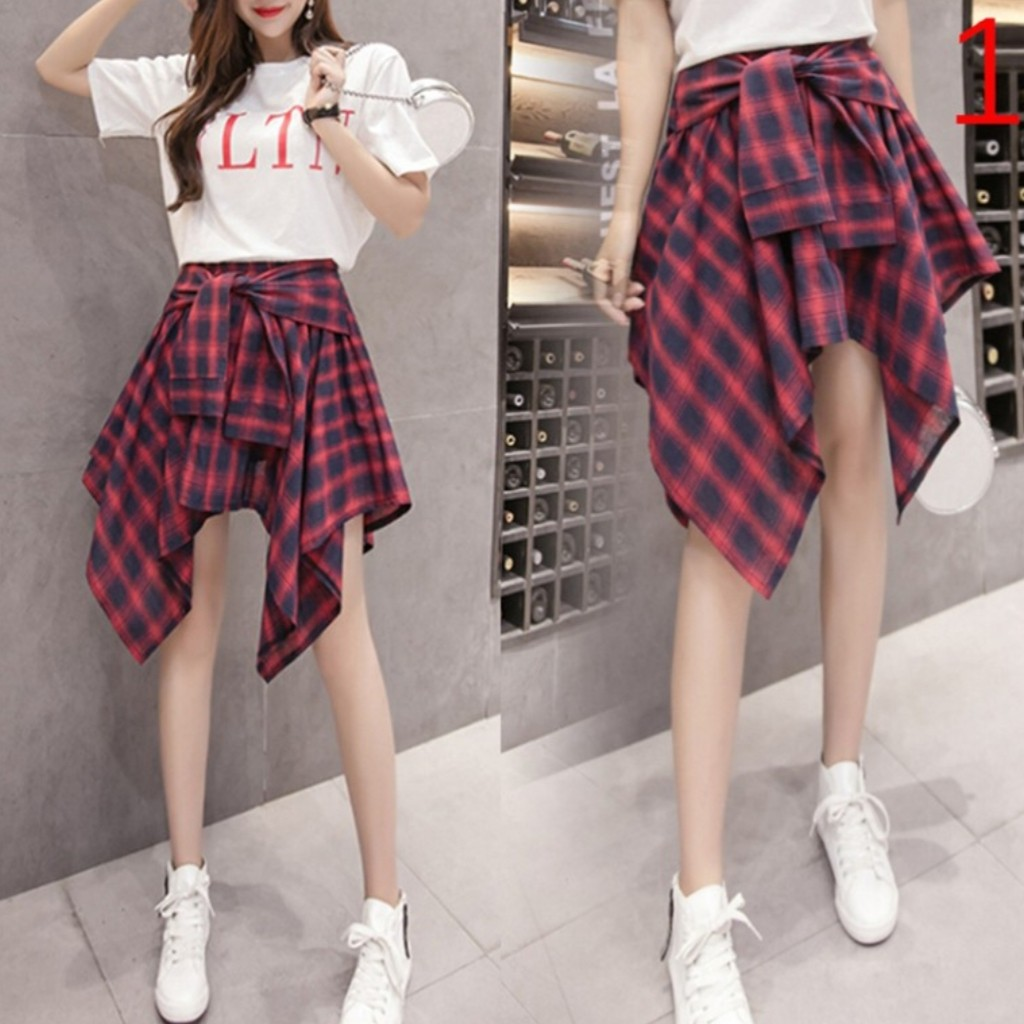 623a1c8be Checkered plaid irregular high waist Skirt, Women's Fashion, Clothes ...