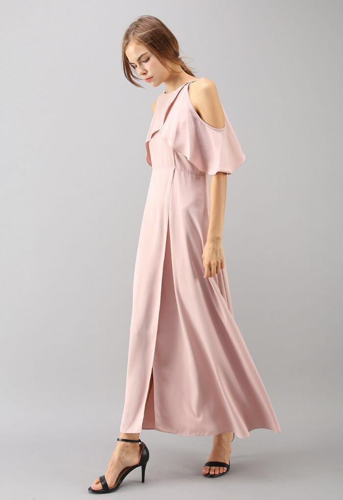 793884d58eddd9 Chicwish Pink Sylphlike Cold Shoulder Maxi Dress (Brand New) 連身長 ...