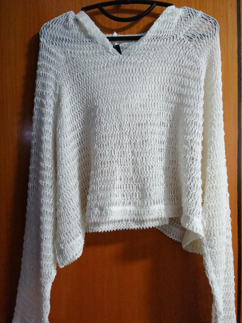 830684a44 Factorie Knitted Crochet Sheer Oversize Pullover Hoodie Crop Top ...