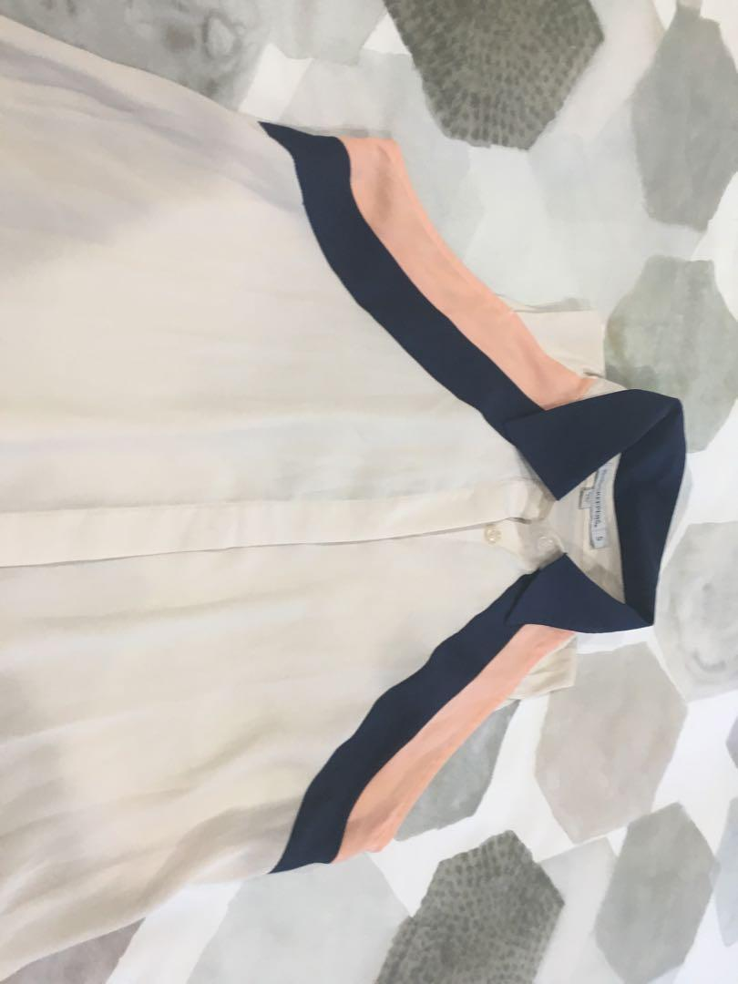 Finders Keepers cream panel and cap sleeve detail collared blouse