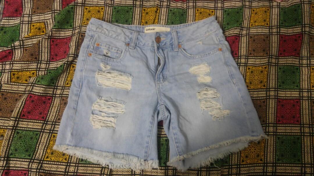 Garage light wash ripped shorts size 0