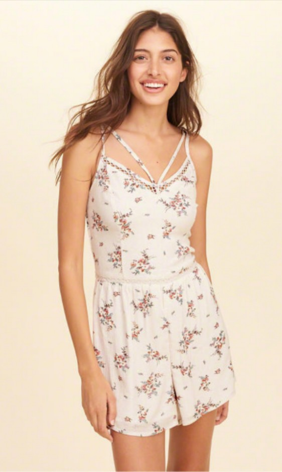 0a7bde46187 Hollister Floral Strappy Woven Romper