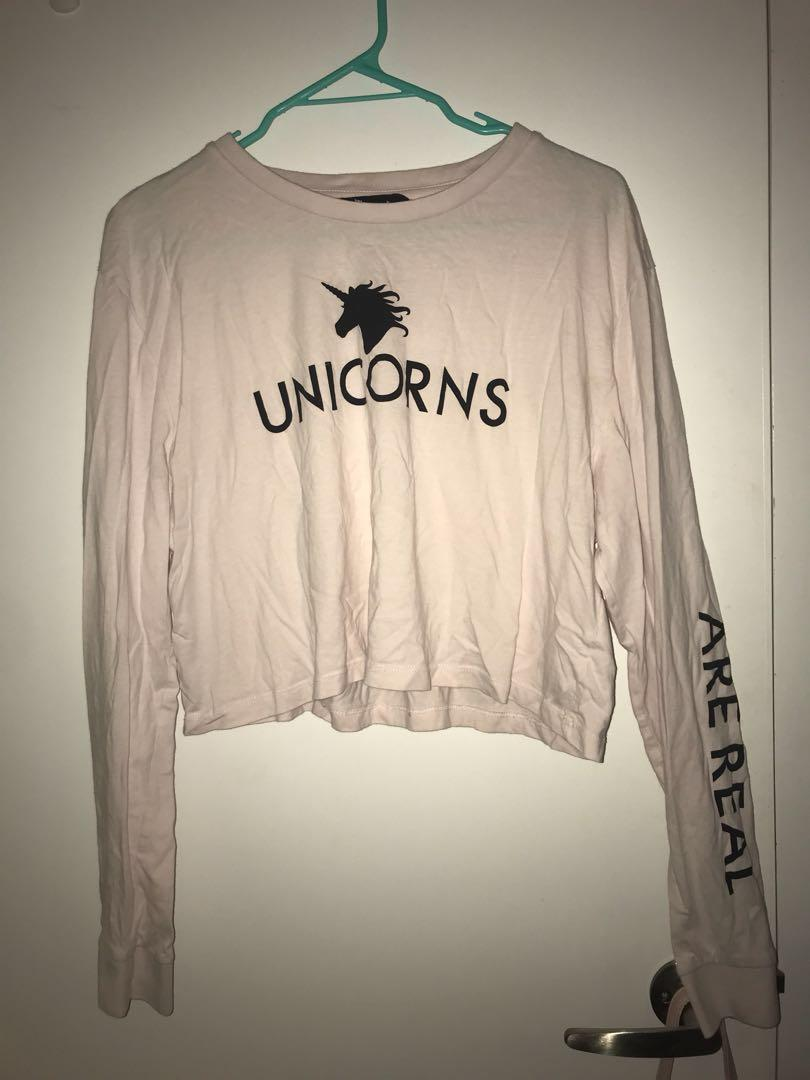 Jay Jays Pink Cropped Long Sleeve Unicorn T-Shirt